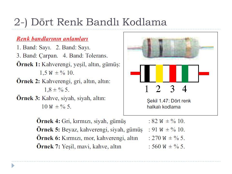 2-) Dört Renk Bandlı Kodlama