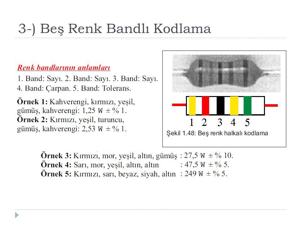 3-) Beş Renk Bandlı Kodlama