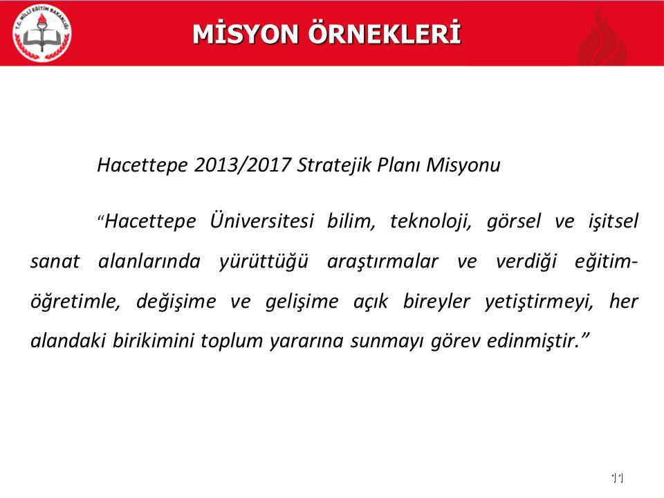 """MİSYON ÖRNEKLERİ Hacettepe 2013/2017 Stratejik Planı Misyonu """" Hacettepe Üniversitesi bilim, teknoloji, görsel ve işitsel sanat alanlarında yürüttüğü"""