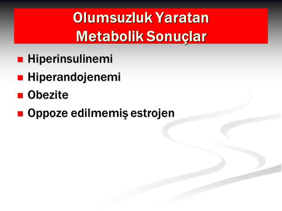 Olumsuzluk Yaratan Metabolik Sonuçlar Hiperinsulinemi Hiperinsulinemi Hiperandojenemi Hiperandojenemi Obezite Obezite Oppoze edilmemiş estrojen Oppoze edilmemiş estrojen