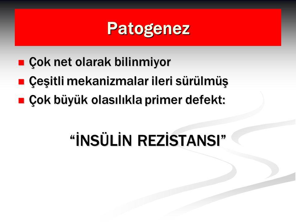 Patogenez İnsülin rezistansıHiperinsülinemi SHBG( ) IGFBP-1( ) SHBG( ) IGFBP-1( ) free-Testosteron( ) IGF-1( ) Ovaryen androjen üretimi( )