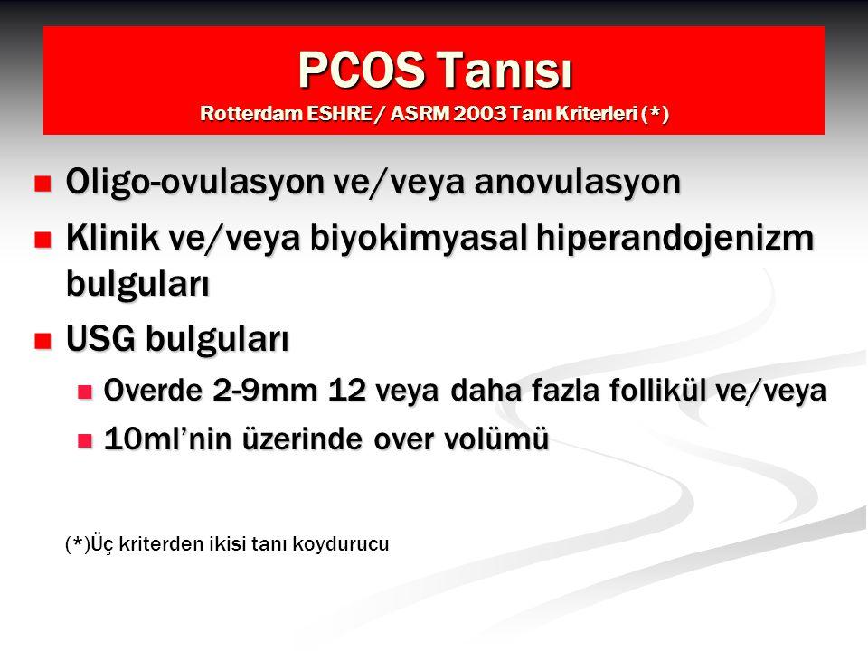 PCOS Tanısı Rotterdam ESHRE / ASRM 2003 Tanı Kriterleri (*) Oligo-ovulasyon ve/veya anovulasyon Oligo-ovulasyon ve/veya anovulasyon Klinik ve/veya biy