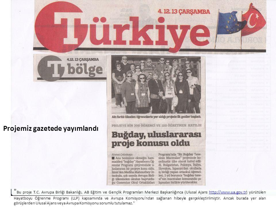 Projemiz gazetede yayımlandı Bu proje T.C.