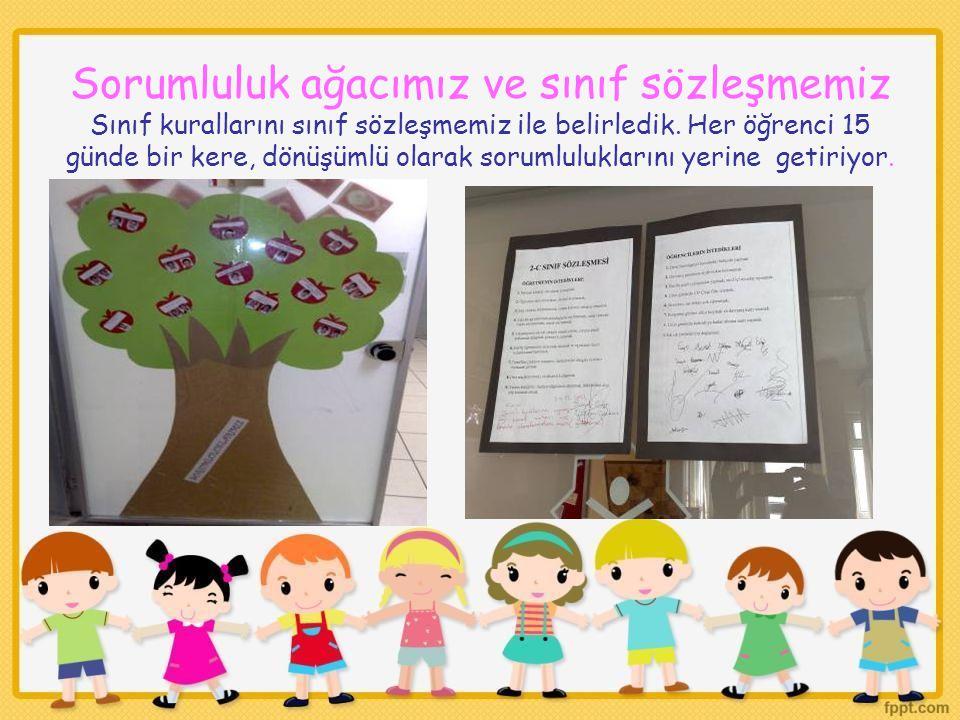 Sorumluluk ağacımız ve sınıf sözleşmemiz Sınıf kurallarını sınıf sözleşmemiz ile belirledik. Her öğrenci 15 günde bir kere, dönüşümlü olarak sorumlulu