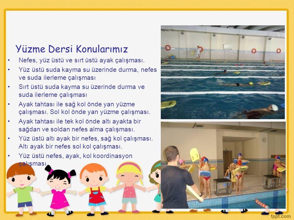 Yüzme Dersi Konularımız Nefes, yüz üstü ve sırt üstü ayak çalışması. Yüz üstü suda kayma su üzerinde durma, nefes ve suda ilerleme çalışması Sırt üstü
