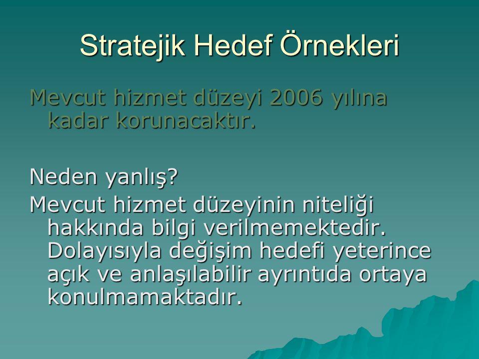 Stratejik Hedef Örnekleri Mevcut hizmet düzeyi 2006 yılına kadar korunacaktır.