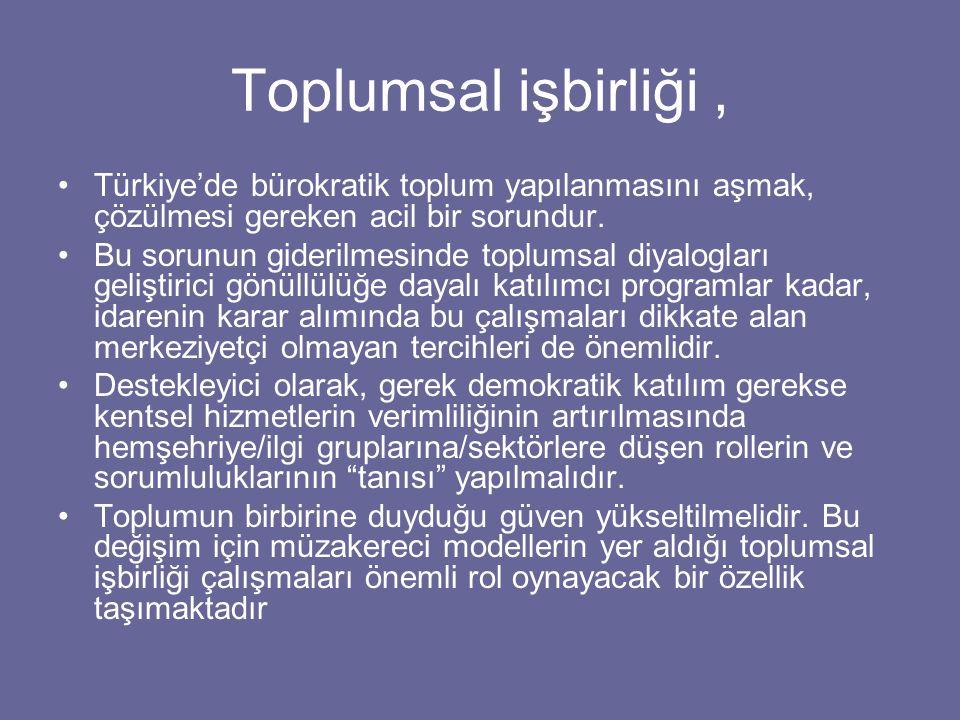 Toplumsal işbirliği, Türkiye'de bürokratik toplum yapılanmasını aşmak, çözülmesi gereken acil bir sorundur.