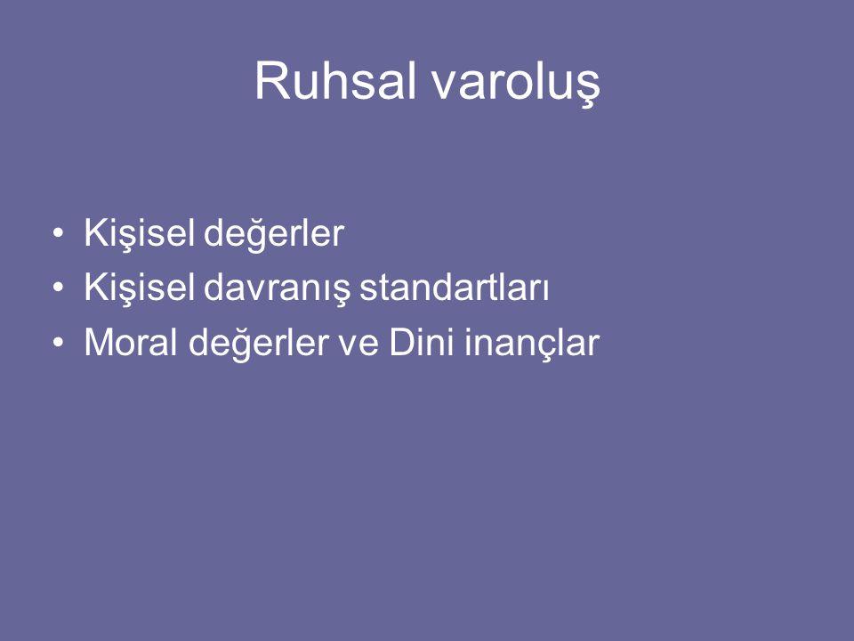 Ruhsal varoluş Kişisel değerler Kişisel davranış standartları Moral değerler ve Dini inançlar