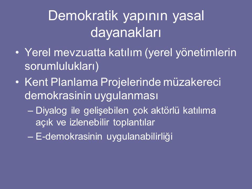 Demokratik yapının yasal dayanakları Yerel mevzuatta katılım (yerel yönetimlerin sorumlulukları) Kent Planlama Projelerinde müzakereci demokrasinin uygulanması –Diyalog ile gelişebilen çok aktörlü katılıma açık ve izlenebilir toplantılar –E-demokrasinin uygulanabilirliği