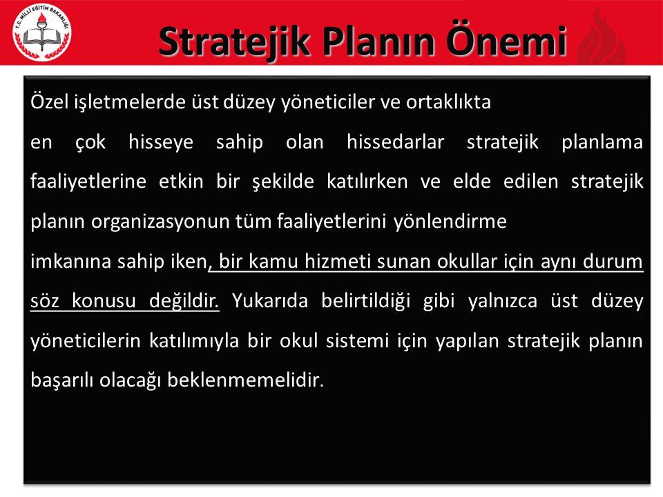 Stratejik Planın Önemi 8 Özel işletmelerde üst düzey yöneticiler ve ortaklıkta en çok hisseye sahip olan hissedarlar stratejik planlama faaliyetlerine etkin bir şekilde katılırken ve elde edilen stratejik planın organizasyonun tüm faaliyetlerini yönlendirme imkanına sahip iken, bir kamu hizmeti sunan okullar için aynı durum söz konusu değildir.