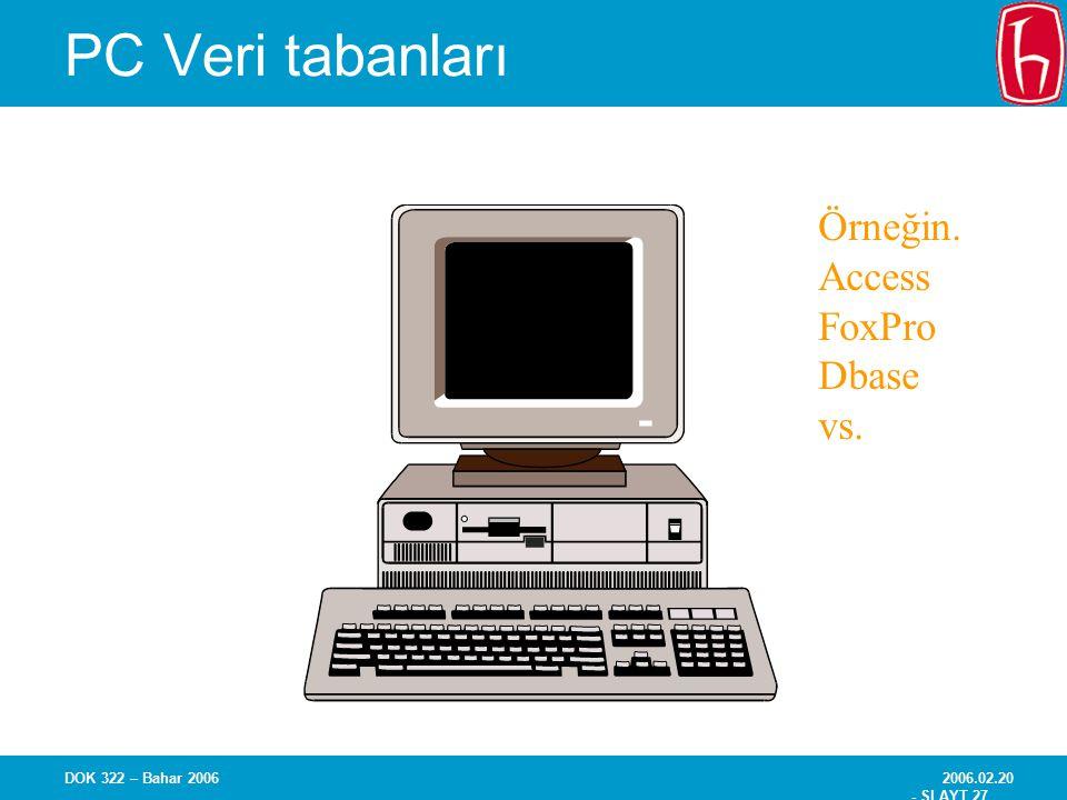 2006.02.20 - SLAYT 27 DOK 322 – Bahar 2006 PC Veri tabanları Örneğin. Access FoxPro Dbase vs.