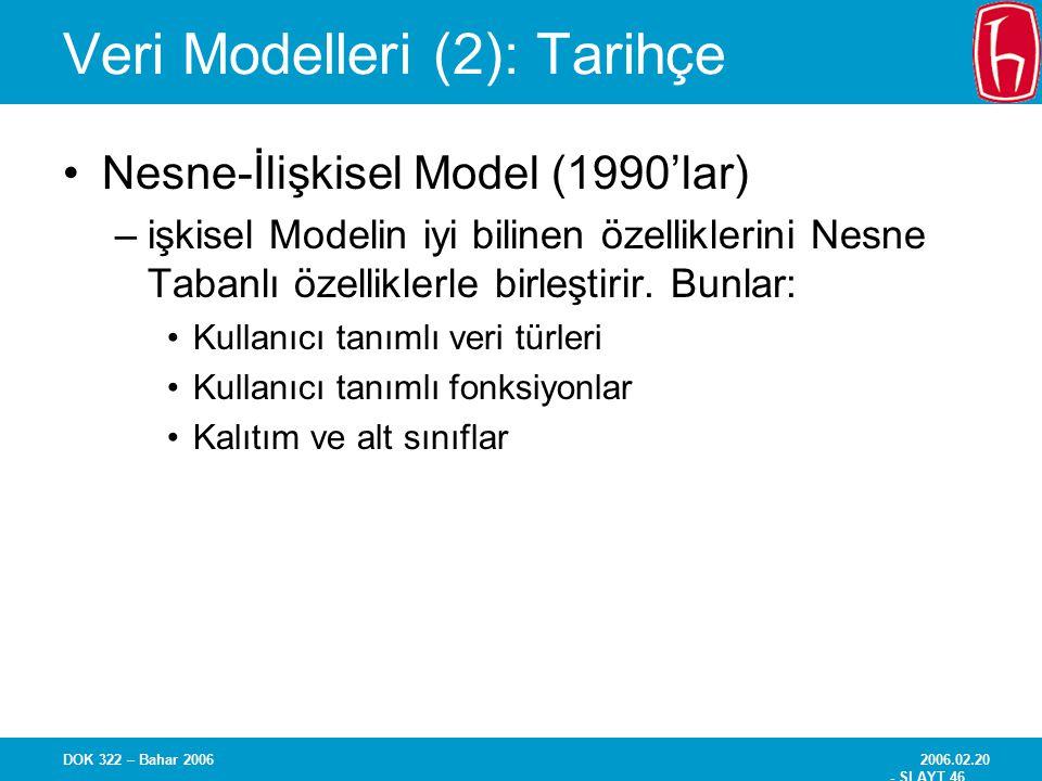 2006.02.20 - SLAYT 46 DOK 322 – Bahar 2006 Veri Modelleri (2): Tarihçe Nesne-İlişkisel Model (1990'lar) –işkisel Modelin iyi bilinen özelliklerini Nes