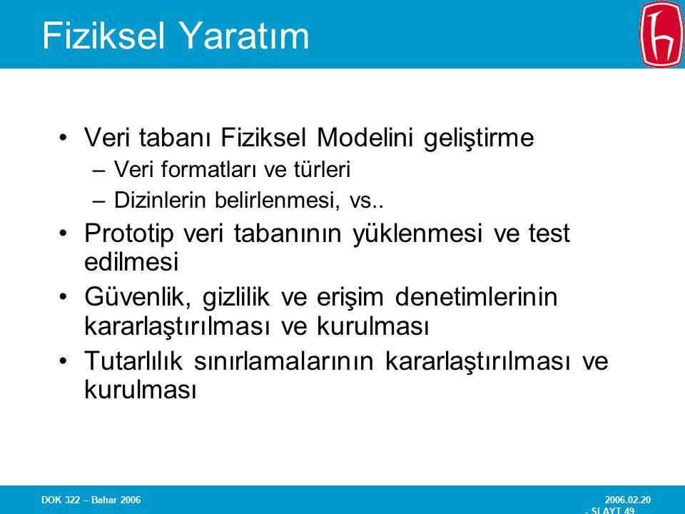 2006.02.20 - SLAYT 49 DOK 322 – Bahar 2006 Fiziksel Yaratım Veri tabanı Fiziksel Modelini geliştirme –Veri formatları ve türleri –Dizinlerin belirlenm