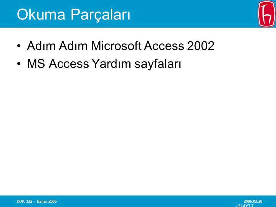 2006.02.20 - SLAYT 18 DOK 322 – Bahar 2006 Terimler ve Kavramlar Metadata –Veri hakkında veri VTYS'de bir varlığın tüm özelliklerinin tanımlanması, ör: –Ad –Veri türü –Büyüklük –Biçim veya özel karakteristikler –Dosyaların ya da ilişkilerin özellikleri Ad, içerik, notlar, vs.