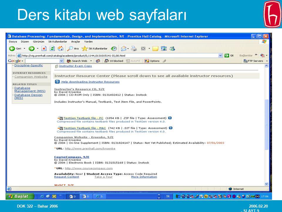 2006.02.20 - SLAYT 9 DOK 322 – Bahar 2006 Ders kitabı web sayfaları