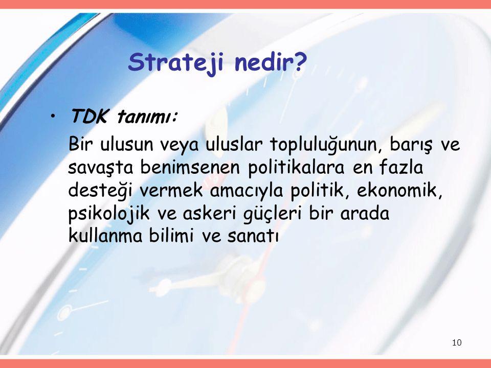 10 Strateji nedir? TDK tanımı: Bir ulusun veya uluslar topluluğunun, barış ve savaşta benimsenen politikalara en fazla desteği vermek amacıyla politik