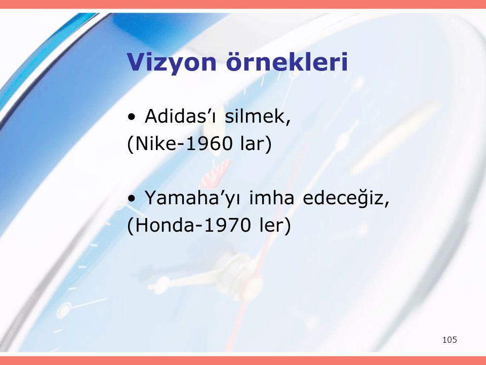 105 Vizyon örnekleri Adidas'ı silmek, (Nike-1960 lar) Yamaha'yı imha edeceğiz, (Honda-1970 ler)