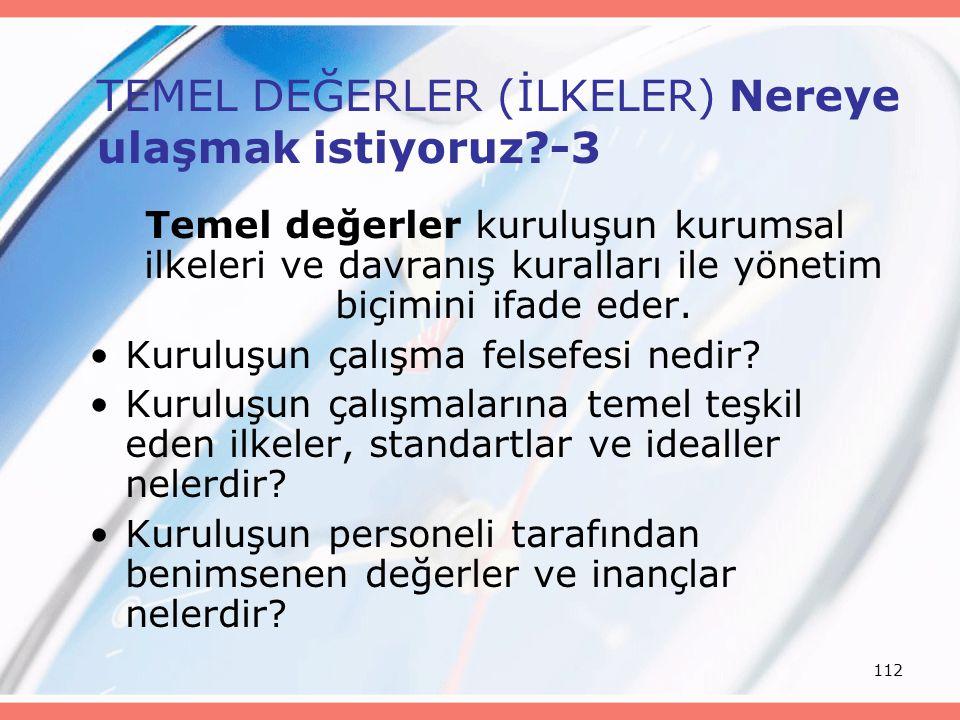 112 TEMEL DEĞERLER (İLKELER) Nereye ulaşmak istiyoruz?-3 Temel değerler kuruluşun kurumsal ilkeleri ve davranış kuralları ile yönetim biçimini ifade e