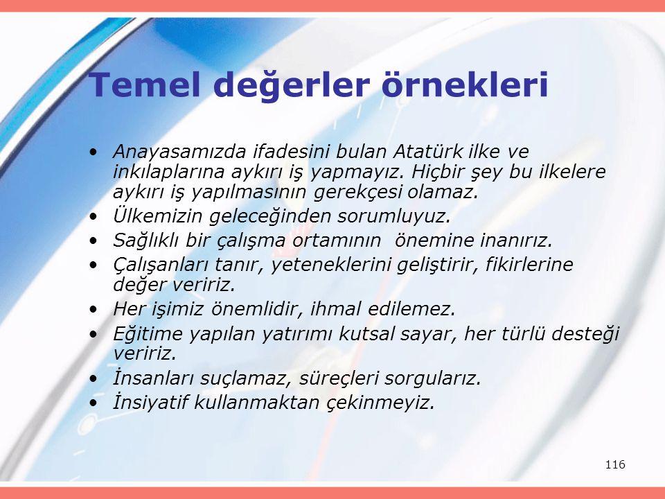 116 Temel değerler örnekleri Anayasamızda ifadesini bulan Atatürk ilke ve inkılaplarına aykırı iş yapmayız. Hiçbir şey bu ilkelere aykırı iş yapılması