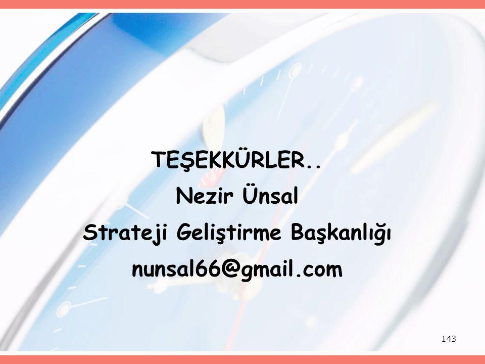 143 TEŞEKKÜRLER.. Nezir Ünsal Strateji Geliştirme Başkanlığı nunsal66@gmail.com