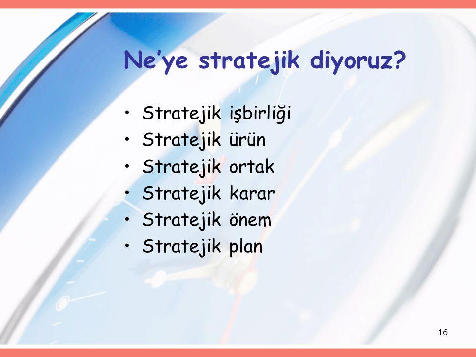 16 Ne'ye stratejik diyoruz? Stratejik işbirliği Stratejik ürün Stratejik ortak Stratejik karar Stratejik önem Stratejik plan