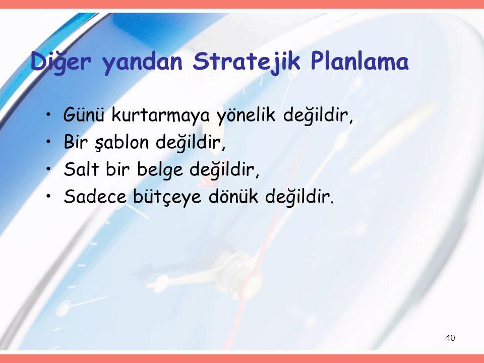 40 Diğer yandan Stratejik Planlama Günü kurtarmaya yönelik değildir, Bir şablon değildir, Salt bir belge değildir, Sadece bütçeye dönük değildir.