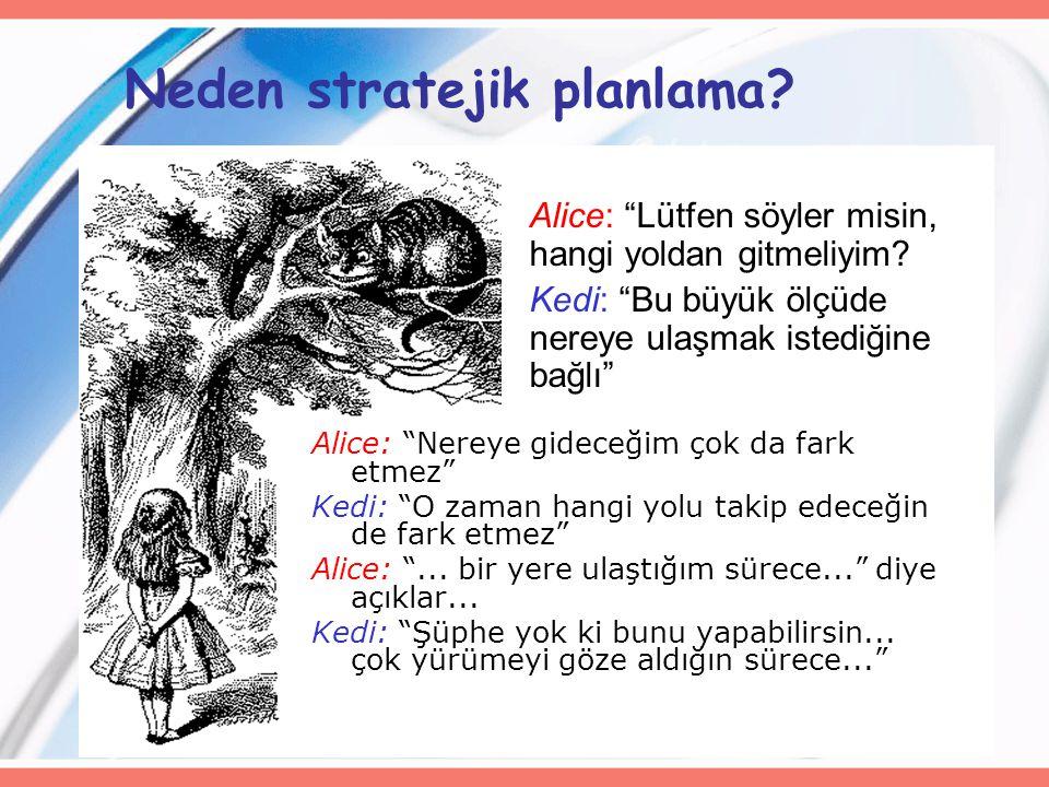 """44 Neden stratejik planlama? Alice: """"Nereye gideceğim çok da fark etmez"""" Kedi: """"O zaman hangi yolu takip edeceğin de fark etmez"""" Alice: """"... bir yere"""