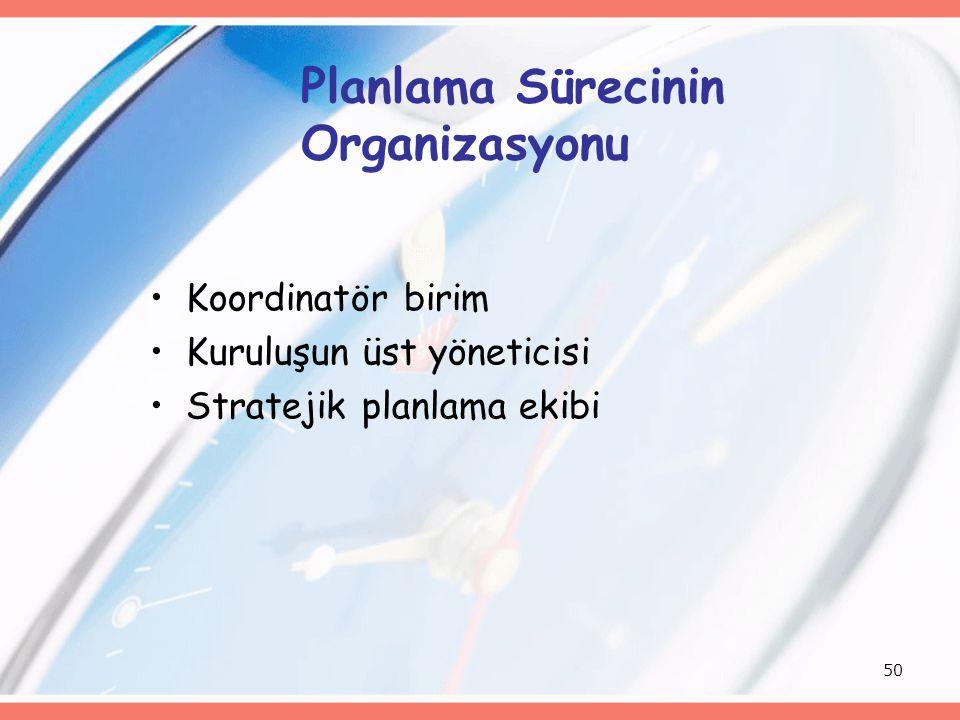 50 Planlama Sürecinin Organizasyonu Koordinatör birim Kuruluşun üst yöneticisi Stratejik planlama ekibi