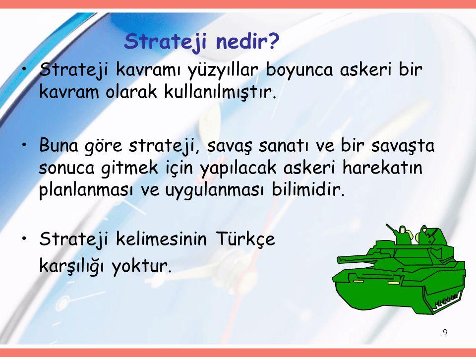 9 Strateji nedir.Strateji kavramı yüzyıllar boyunca askeri bir kavram olarak kullanılmıştır.