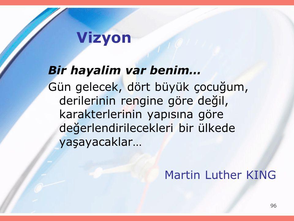 96 Vizyon Bir hayalim var benim… Gün gelecek, dört büyük çocuğum, derilerinin rengine göre değil, karakterlerinin yapısına göre değerlendirilecekleri bir ülkede yaşayacaklar… Martin Luther KING