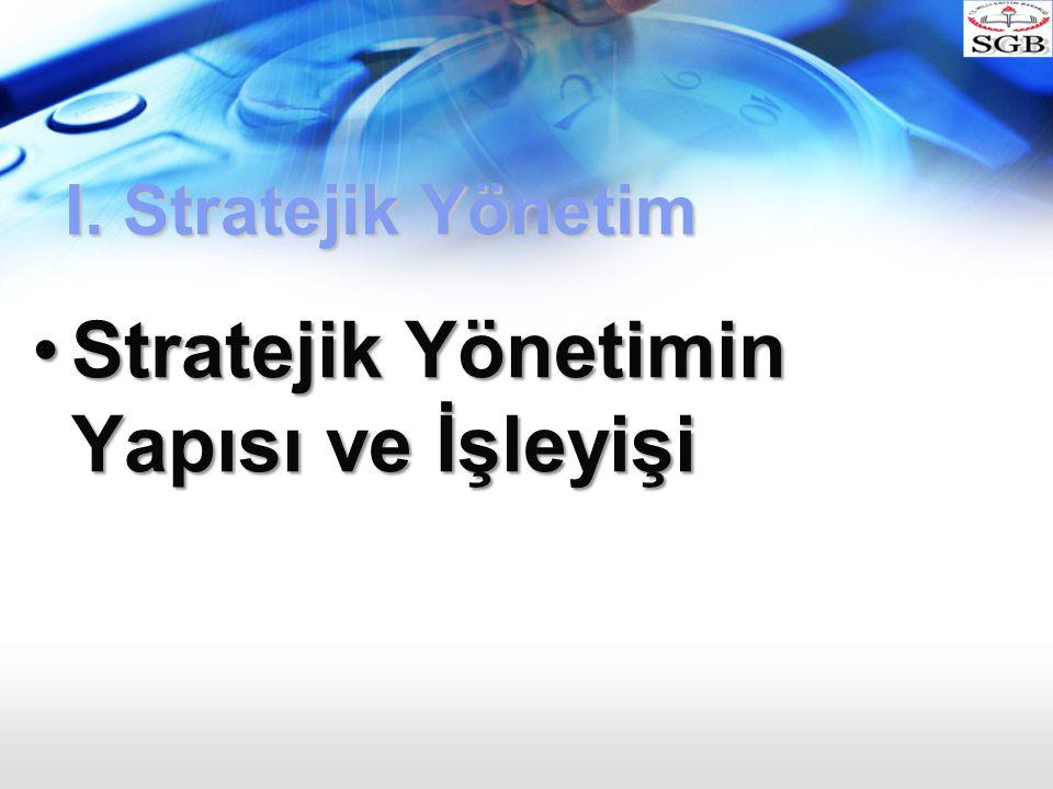 I. Stratejik Yönetim Stratejik Yönetimin Yapısı ve İşleyişiStratejik Yönetimin Yapısı ve İşleyişi