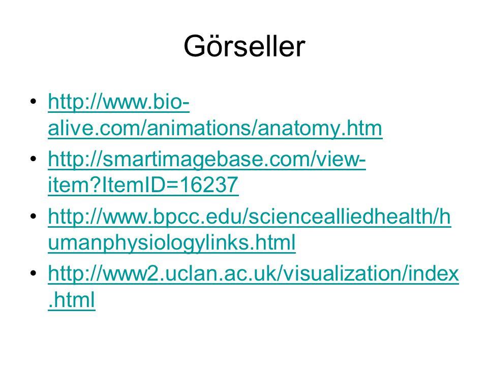 Görseller http://www.bio- alive.com/animations/anatomy.htmhttp://www.bio- alive.com/animations/anatomy.htm http://smartimagebase.com/view- item?ItemID