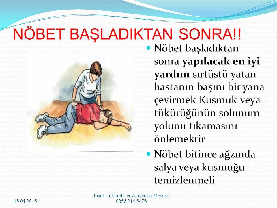 Nöbet başladıktan sonra yapılacak en iyi yardım sırtüstü yatan hastanın başını bir yana çevirmek Kusmuk veya tükürüğünün solunum yolunu tıkamasını önl