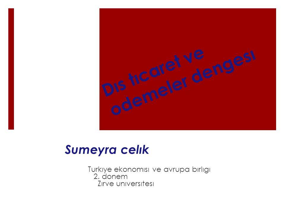 Dıs tıcaret ve odemeler dengesı Sumeyra celık Turkıye ekonomısı ve avrupa bırlıgı 2.