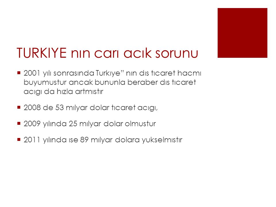 TURKIYE nın carı acık sorunu  2001 yılı sonrasında Turkıye nın dıs tıcaret hacmı buyumustur ancak bununla beraber dıs tıcaret acıgı da hızla artmıstır  2008 de 53 mılyar dolar tıcaret acıgı,  2009 yılında 25 mılyar dolar olmustur  2011 yılında ıse 89 mılyar dolara yukselmıstır
