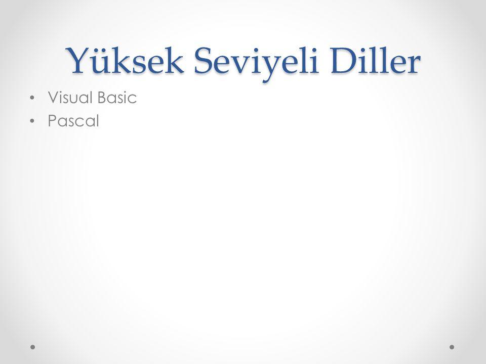 Yüksek Seviyeli Diller Visual Basic Pascal