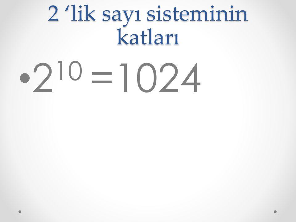 2 'lik sayı sisteminin katları 2 10 =1024