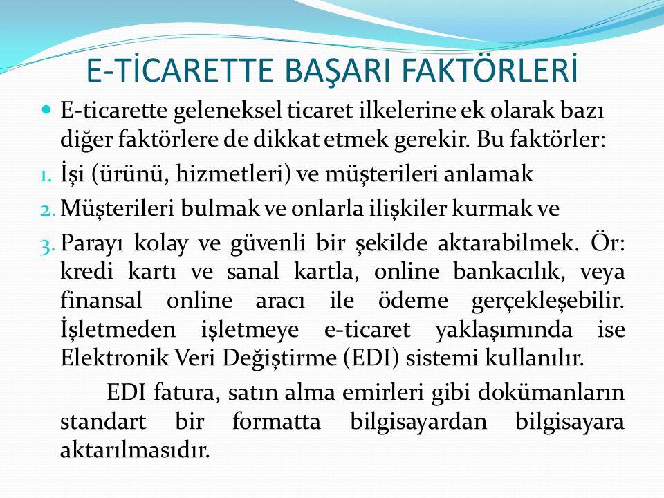 E-TİCARETTE BAŞARI FAKTÖRLERİ E-ticarette geleneksel ticaret ilkelerine ek olarak bazı diğer faktörlere de dikkat etmek gerekir. Bu faktörler: 1. İşi