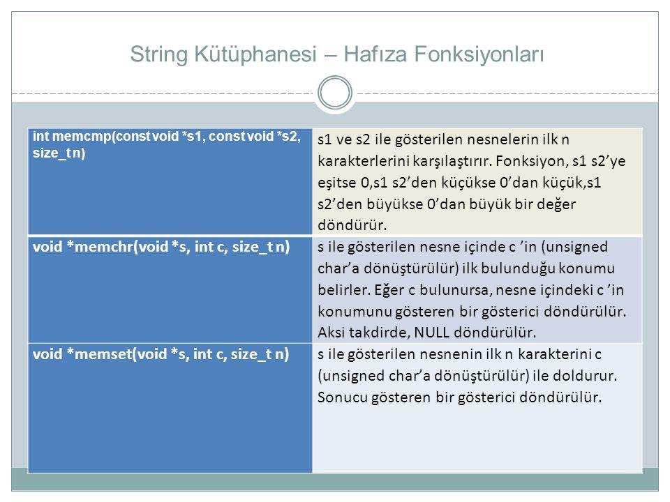 String Kütüphanesi – Hafıza Fonksiyonları int memcmp(const void *s1, const void *s2, size_t n) s1 ve s2 ile gösterilen nesnelerin ilk n karakterlerini