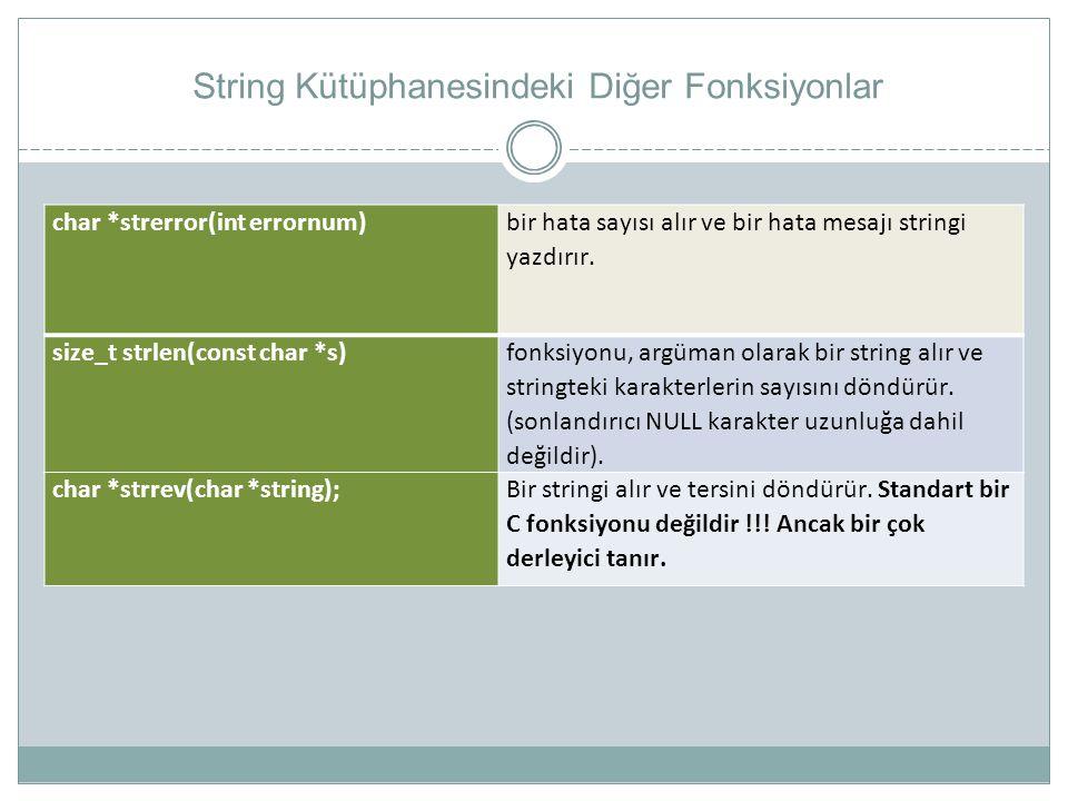 String Kütüphanesindeki Diğer Fonksiyonlar char *strerror(int errornum) bir hata sayısı alır ve bir hata mesajı stringi yazdırır. size_t strlen(const