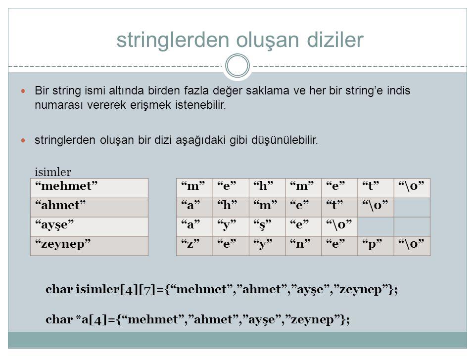 stringlerden oluşan diziler Bir string ismi altında birden fazla değer saklama ve herbir string'e indis numarası vererek erişmek istenebilir. stringle