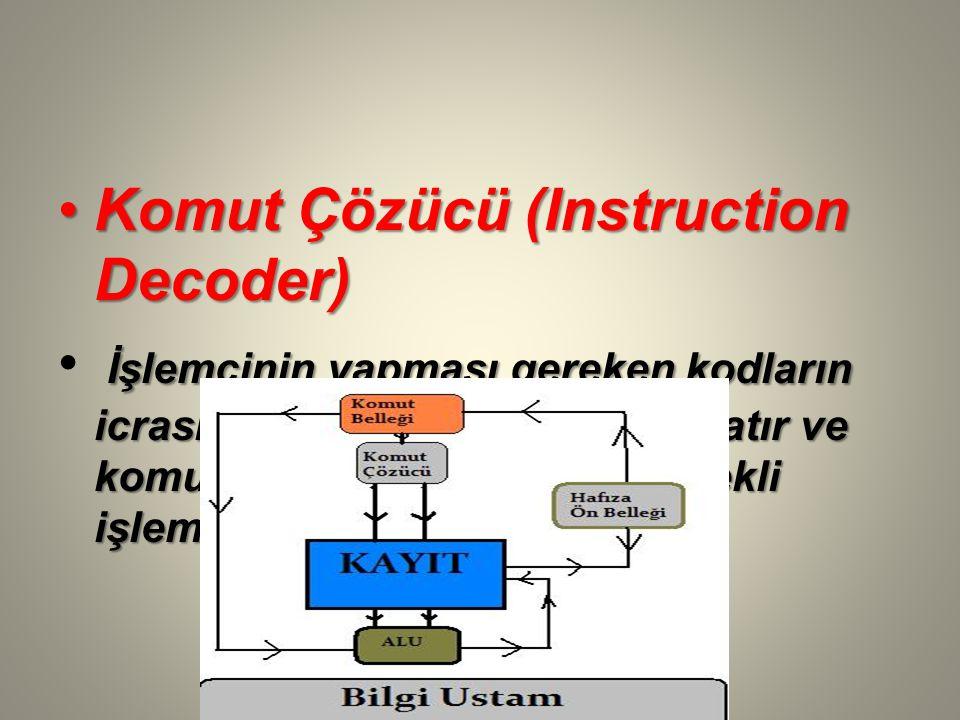 Komut Çözücü (Instruction Decoder)Komut Çözücü (Instruction Decoder) İşlemcinin yapması gereken kodların icrası için gerekli işlemleri başlatır ve komutun çalıştırılması için gerekli işlemleri belirler.