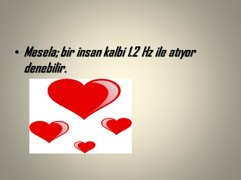 Mesela; bir insan kalbi 1.2 Hz ile atıyor denebilir.