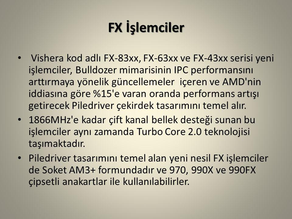 FX İşlemciler Vishera kod adlı FX-83xx, FX-63xx ve FX-43xx serisi yeni işlemciler, Bulldozer mimarisinin IPC performansını arttırmaya yönelik güncellemeler içeren ve AMD nin iddiasına göre %15 e varan oranda performans artışı getirecek Piledriver çekirdek tasarımını temel alır.