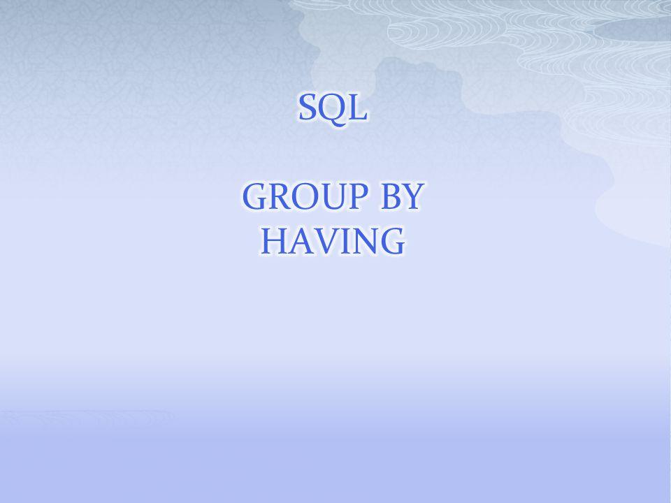 SELECT column_name, aggregate_function(column_name) FROM table_name WHERE column_name operator value GROUP BY column_name aggregate : birleştirme fonksiyonları.