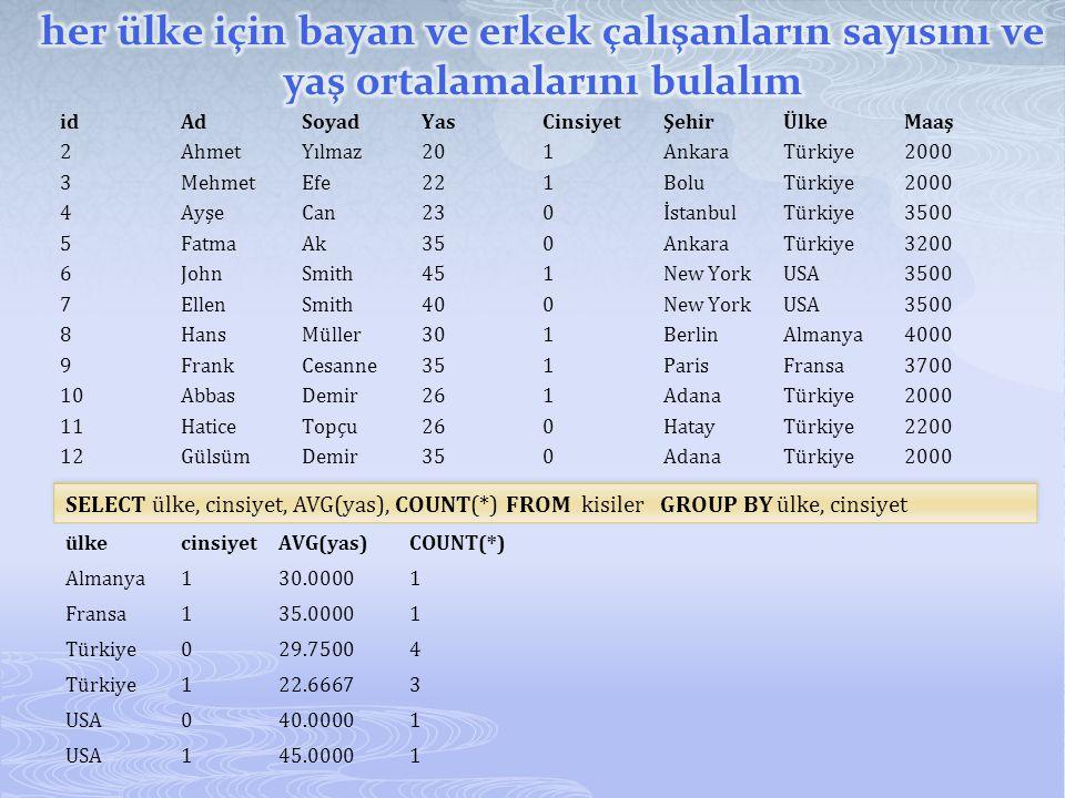 idAdSoyadYasCinsiyetŞehirÜlkeMaaş 2AhmetYılmaz201AnkaraTürkiye2000 3MehmetEfe221BoluTürkiye2000 4AyşeCan230İstanbulTürkiye3500 5FatmaAk350AnkaraTürkiy