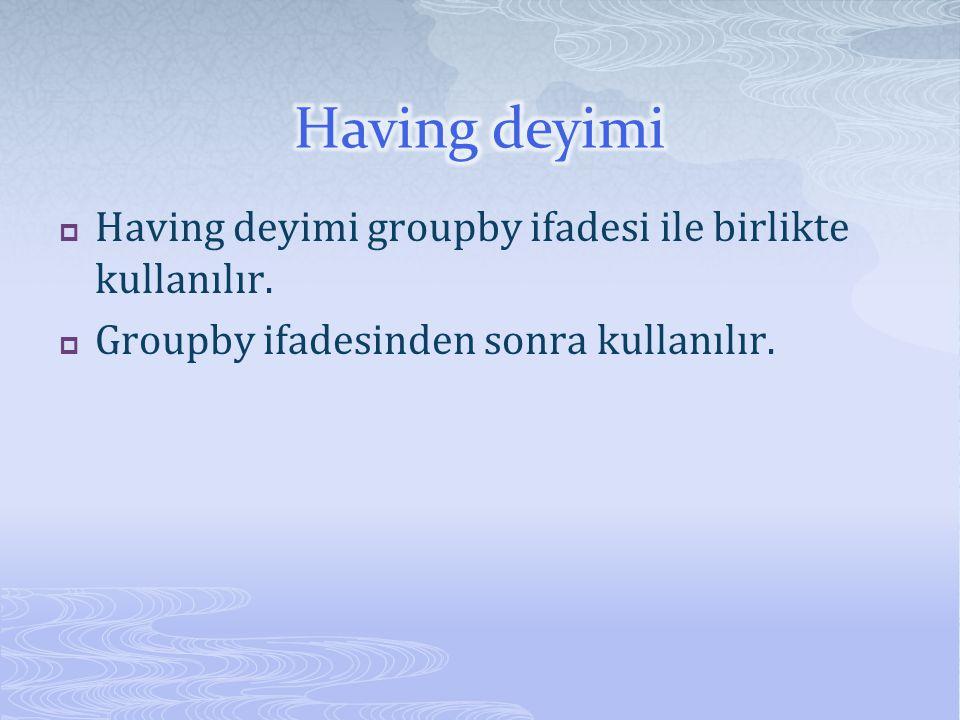  Having deyimi groupby ifadesi ile birlikte kullanılır.  Groupby ifadesinden sonra kullanılır.