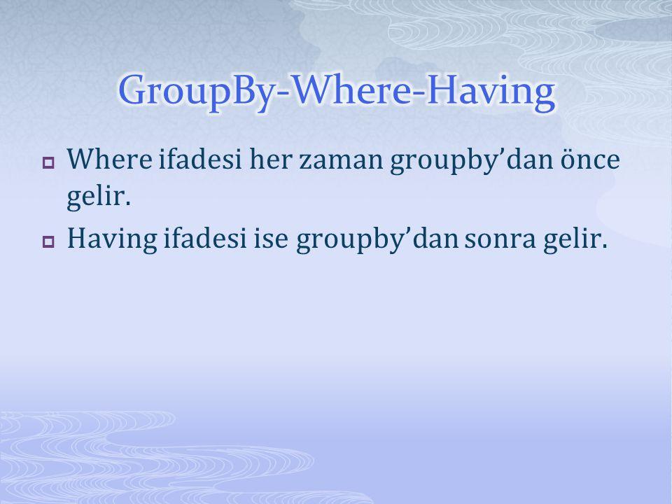  Where ifadesi her zaman groupby'dan önce gelir.  Having ifadesi ise groupby'dan sonra gelir.