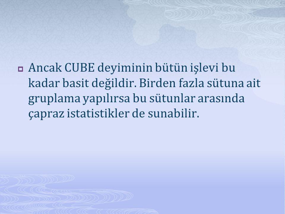 Ancak CUBE deyiminin bütün işlevi bu kadar basit değildir. Birden fazla sütuna ait gruplama yapılırsa bu sütunlar arasında çapraz istatistikler de s
