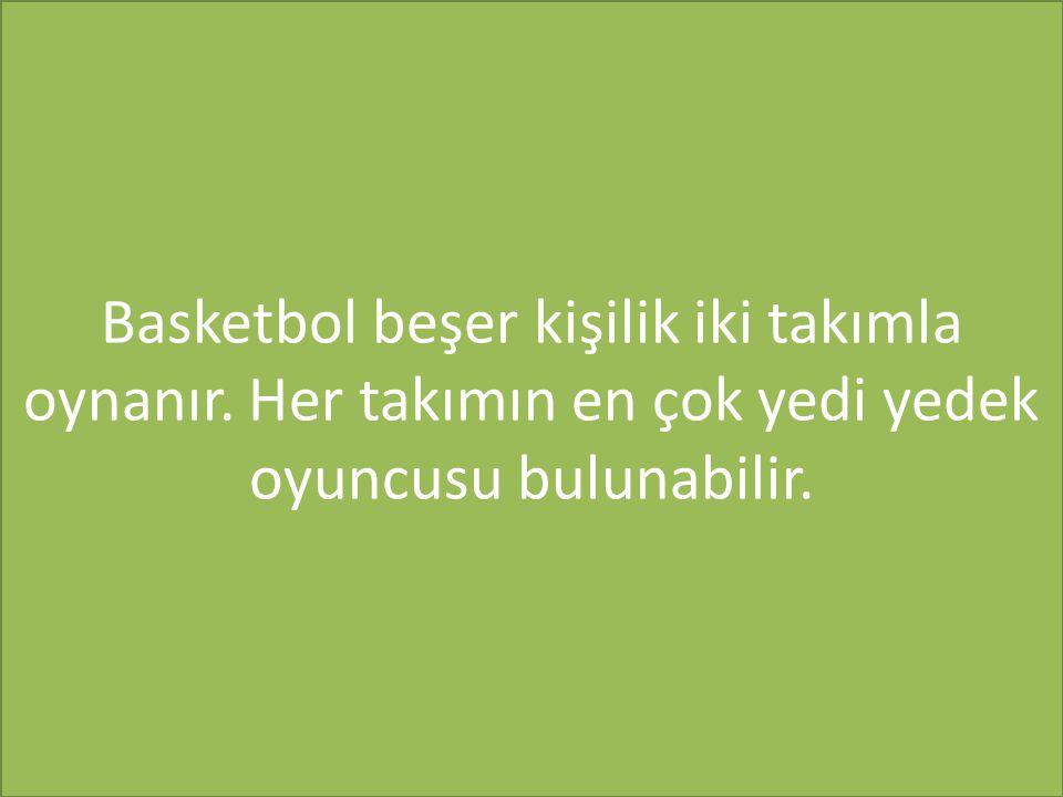 Basketbol beşer kişilik iki takımla oynanır. Her takımın en çok yedi yedek oyuncusu bulunabilir.